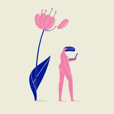 Poster illustration of a girl nude with notebook under flower, person, nature, ecology and technology, pink and blue colors scheme