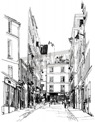 Poster illustration of a street near Montmartre in Paris