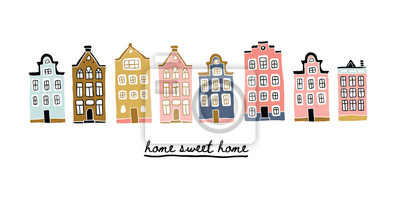 Illustration of Amsterdam houses with lettering