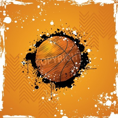 Poster illustration of basketball on abstract grungy background