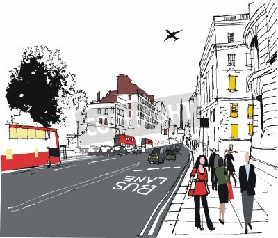 Poster illustration of commuters on London city street
