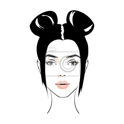 Poster illustration of women bun hair style icon, logo women face on white background, vector. icon beauty woman with luxurious cute bun hairstyle. Idea for card typography vector.