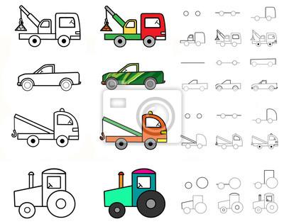 Illustration Poster Schritt Für Schritt Zeichnen Von