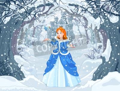 Poster Illustration von Prinzessin mit Vogel nah an magischem Winter-Schloss