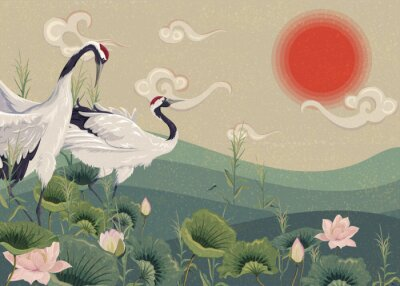 Poster Illustration with Japanese cranes in the lake at sunset