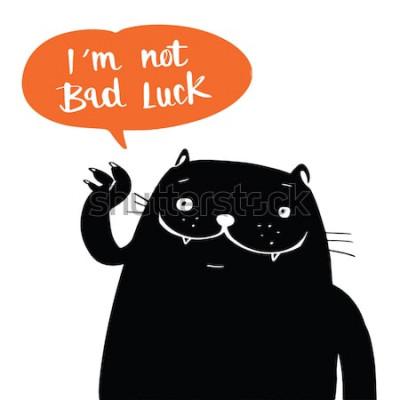 Poster Illustrationsvektor-Gekritzelart eine schwarze Katze und ich sind nicht Pech in der Ballonsprache, Karikaturdesign.
