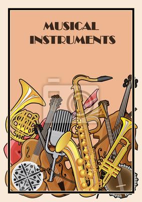 Poster Illustriertes Plakat von Musikinstrumenten