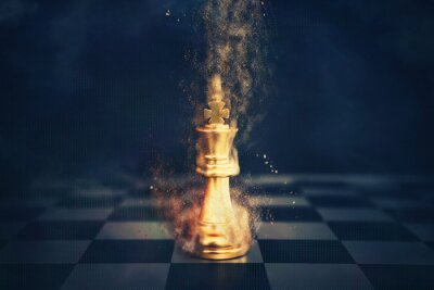 Poster Image of chess game. Business, competition, strategy, leadership and success concept