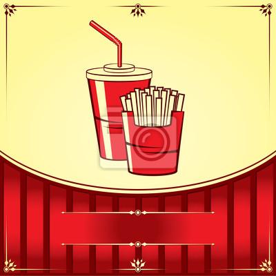 Imbiss mit Cola und Pommes. Vektor-Illustration.
