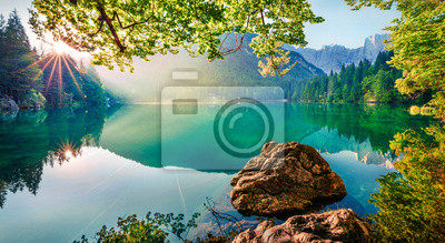 Poster Impressive morning view of Fusine lake. Attractive summer scene of Julian Alps with Mangart peak on background, Province of Udine, Italy, Europe. Traveling concept background.