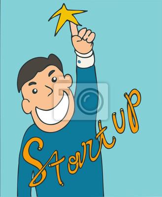 Inbetriebnahme, kluger Mann mit Idee, Vektor-Illustration, Hand gezeichnet