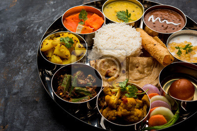 Poster Indian Hindu Veg Thali / food platter, selective focus