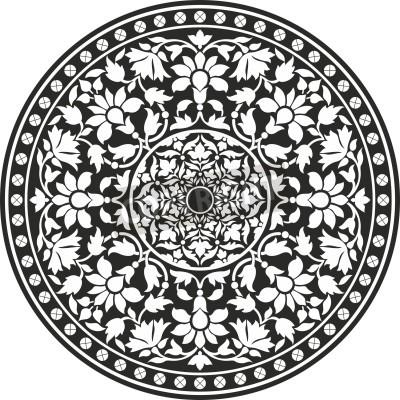 Poster Indian traditionellen Muster der Schwarzweiss - Blumen-Mandala