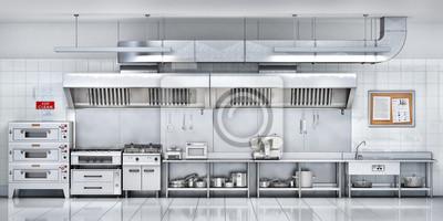 Poster Industrial kitchen. Restaurant kitchen. 3d illustration