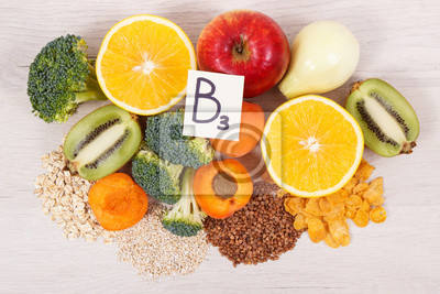 Poster Ingredients and products containing vitamin B3 and other natural minerals, healthy nutrition concept