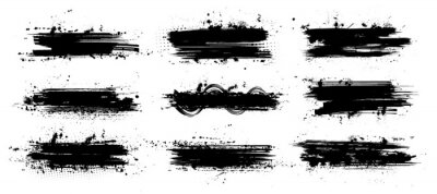 Poster Ink paintbrush template with splashes. Vector collection black grunge paintbrush, ink brush stroke. Dirty artistic design elements. Inked splatter, dirt stain, splatter, brush with drops blots. Vector