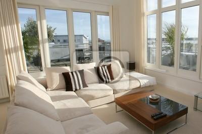 Innere des modernen wohnzimmer mit beige eck-suite wandposter ...
