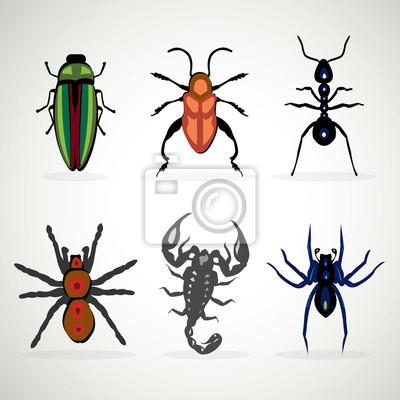 Insekten Tier Gefahrlich Icons Set Cartoon Abbildung Wandposter