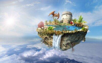 Poster Insel Drachen fliegt im Raum