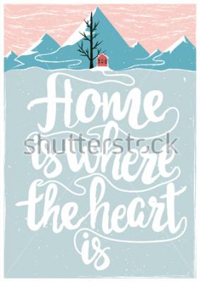 Poster Inspiriertes und motivierendes farbiges Vektorplakat mit Zitat. Zuhause ist dort, wo das Herz ist. Lebensstilkonzept mit Beschriftungstext
