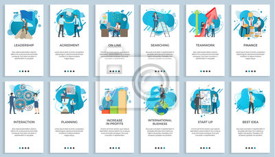 Poster International business vector, startup businessman do presentation of board best idea and solution of project problems, teamwork and increase in profits. For business website or app slider flat style