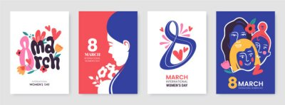 Poster International Women's Day greeting card collection in different styles. 8 March posters design with lettering, womens, flowers and decorative elements. Ideal for print, postcard, social media, promo.