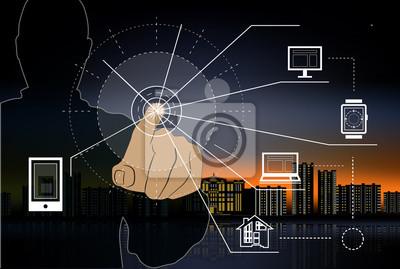 Poster Internet der Dinge durch Verbraucher und den angeschlossenen Geräten als Vektor-Abbildung dargestellt, Objekte sind Smartphone, Tablet, Notebook, Smart Home.