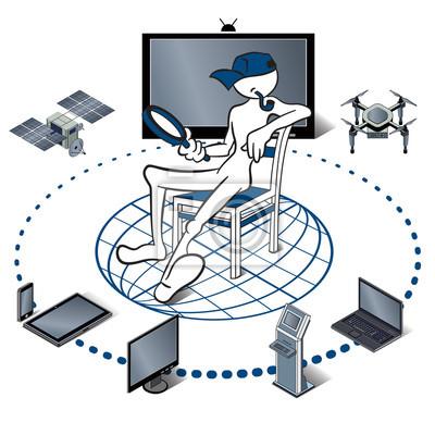 Poster Internet der Dinge, vertreten durch Verbraucher und angeschlossene Geräte als isometrische Vektor-Illustration, Objekte sind Smartphone, Tablet, Notebook, Drohne, Satelliten.