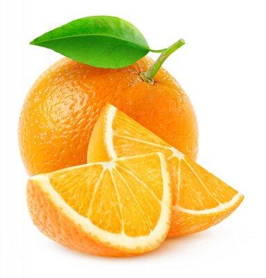 Poster Isoliert orange Früchte und Scheiben