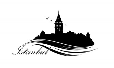 Istanbul city skyline with famous turkish travel landmark. Tourist icon of Istanbul city. Cityscape silhouette. Architectural sign with lettering Istnabul.
