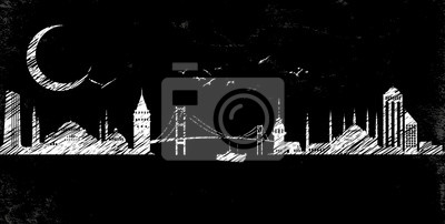 Istanbul Silhoutte Strichzeichnung