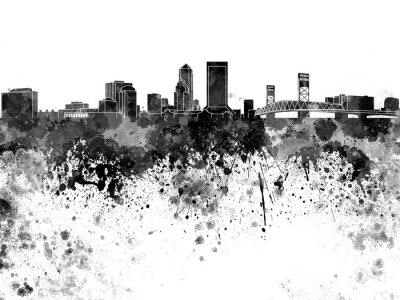 Jacksonville skyline in black watercolor
