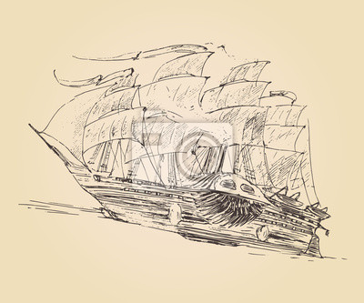 Jahrgang eingraviert Schiff Segelfisch (alte Abbildung) Abbildung