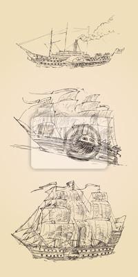 Jahrgang eingraviert Schiff Segelfisch gesetzt Abbildung