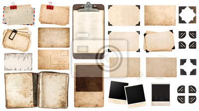 Poster Jahrgang Papier Blatt, Buch, alte Bilderrahmen und Ecken, antiqu