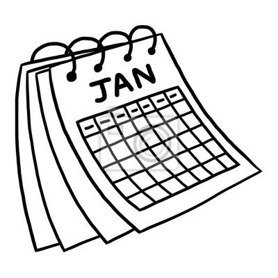 Illustration Calendrier.Poster Januar Kalender Cartoon Vektor Und Illustration Schwarz Und