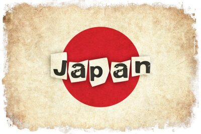 Poster Japan Grunge Flagge Illustration der asiatischen Land mit Text