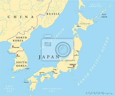 landkarte korea Japan und korea landkarte wandposter • poster sendai, korea, Öse  landkarte korea