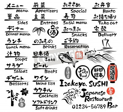 Poster Japanese food MENU, in English and Japanese