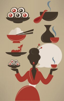 Poster Japanese menu, vector food collection in flat style