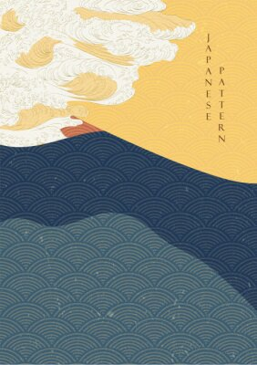Poster Japanese wave template with Geometric pattern vector.