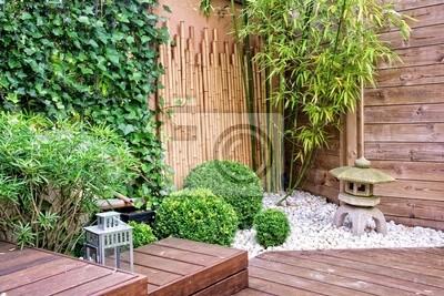 Japanischer Garten Mit Bambus Und Stein Laterne Wandposter Poster