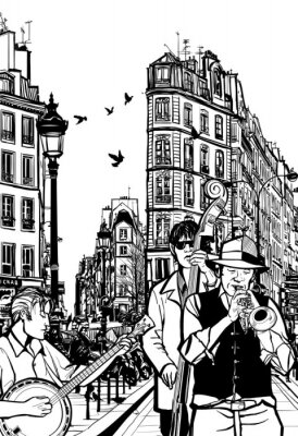 Poster Jazz band in a street of Paris