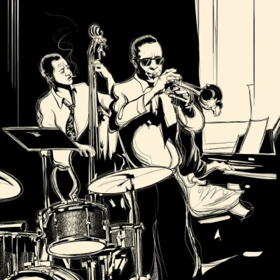 Poster Jazz-Band mit Kontrabass Trompete Klavier und Trommel