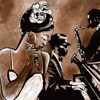 Poster Jazz-Band mit Sängerin, Saxophon und Klavier - Illustration