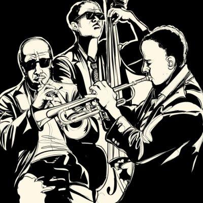 Poster Jazz-Band mit Trompete und Kontrabass