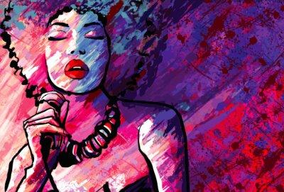 Poster Jazz-Sängerin mit Mikrofon auf Grunge-Hintergrund