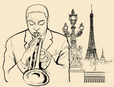 Poster Jazz-Trompeter auf Alexander Brücke in Paris (Tinte Stift Zeichnung)