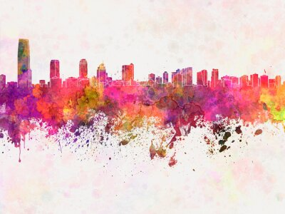 Jersey City skyline in watercolor background