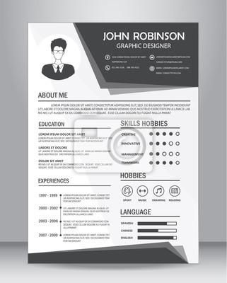 poster job lebenslauf oder cv vorlage layout vorlage in a4 gre abbildung - Lebenslauf Foto Grose